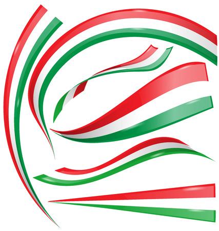 mexican flag: Set bandiera italiana e messicana isolato su sfondo bianco Vettoriali