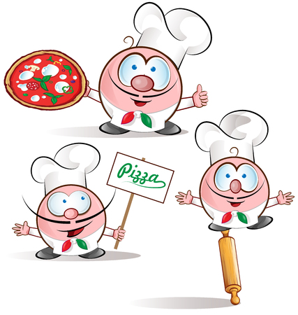 mozzarella cheese: italian chef set isolated on white background Illustration
