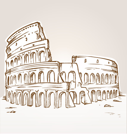 colosseo: colosseum hand draw