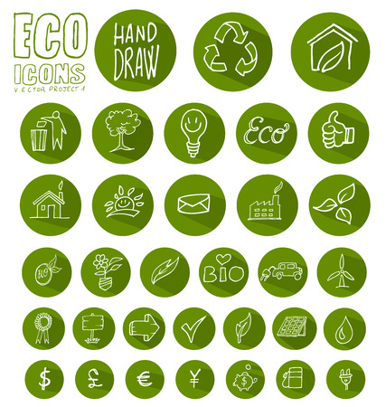eco icon button  set isolated on white background Vector