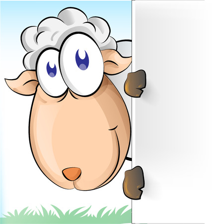 sheep cartoon with background Vector