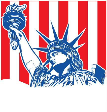 standbeeld van de vrijheid met fakkel op vlag achtergrond Stock Illustratie