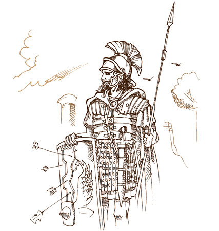 roman warrior hand draw on background Vector