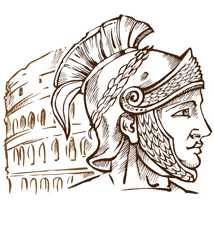 cascos romanos: guerrero romano en el fondo Coliseo