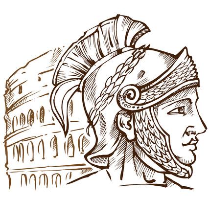 Romeinse krijger op colosseum achtergrond