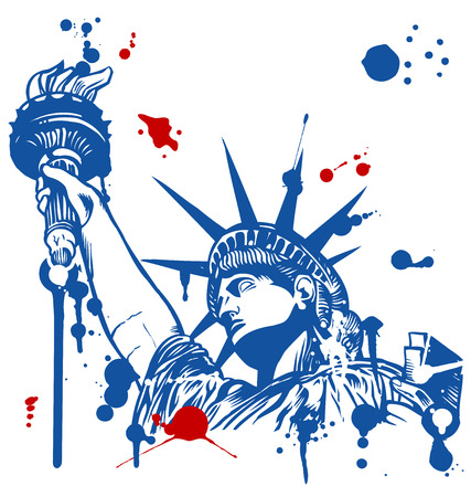 statue of liberty with torch with ink dripping Illustration