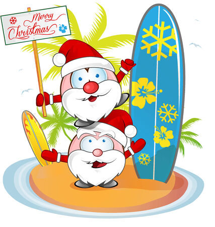 santa claus cartoon on island beach background