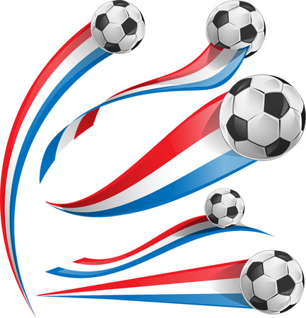 flag french icon: france and Netherlands flag set with soccer ball