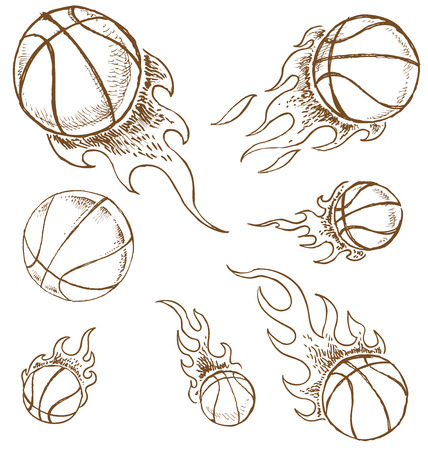 basket ball: basket ball  hand draw isolated on white