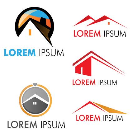 logotipo de construccion: s�mbolo de la casa conjunto aislado en blanco
