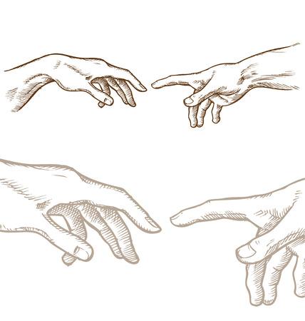 Schepping van Adam hand tekenen op wit wordt geïsoleerd
