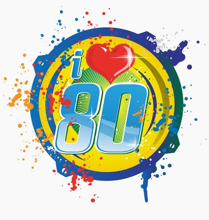 80s: i love 80s music symbol isolated on white