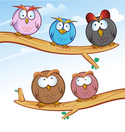 funny owl group cartoon on tree Vector