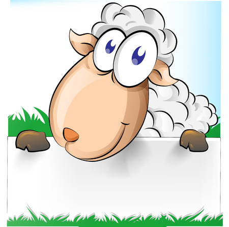 pasen schaap: schattig Shep cartoon met witte banner