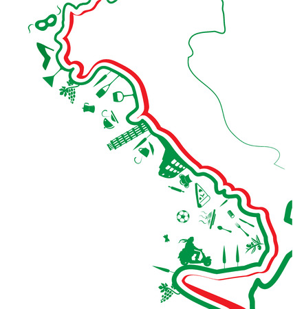 italian map with symbol on white background Vector