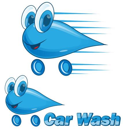 car wash drip cartoon isolated on white