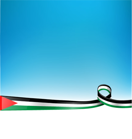 palestine: PALESTINE FLAG on blue sky background Illustration