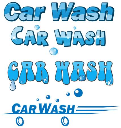 autolavado: símbolo de lavado de coches setisolated en blanco
