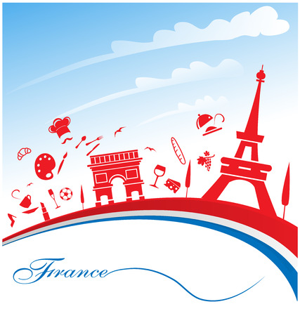 french culture: france background with flag and symbol