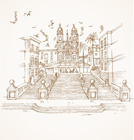 spanish architecture: piazza di spagna in rome hand draw on background