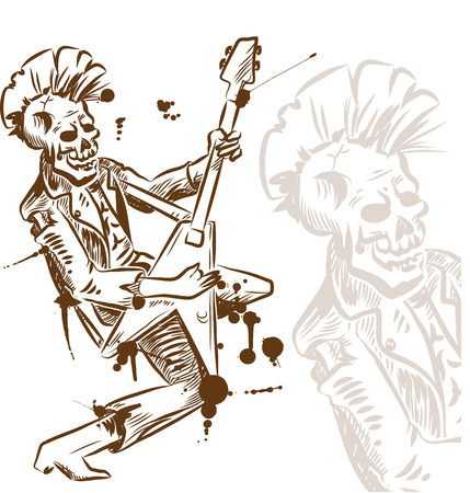 punk rock: punk rock guitarist hand drawn