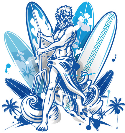surfer: poseidon surfer on blue surfboard background with palm tree Illustration