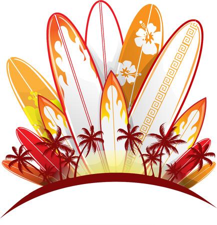 hawaiana: tabla de surf fondo establecido aislado en blanco