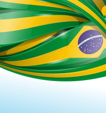 brazil symbol: brazil  background with flag set Illustration