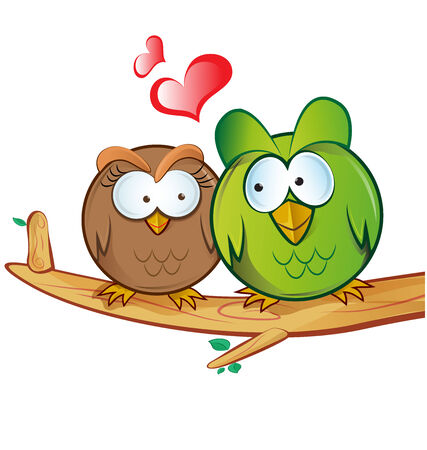 love tree: owl cartoon in love
