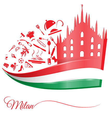 milan cathedral with food element on italian flag Vector