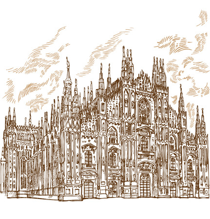 milan cathedral hand draw  イラスト・ベクター素材