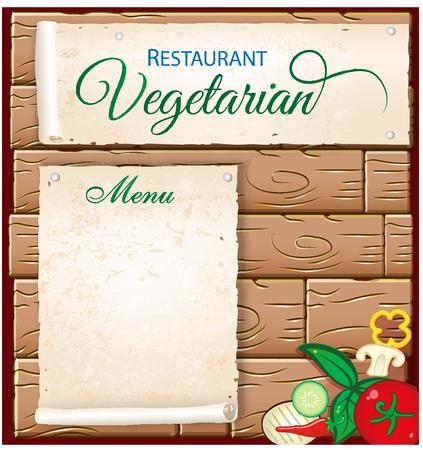 vegs: vegetarian menu on wood background