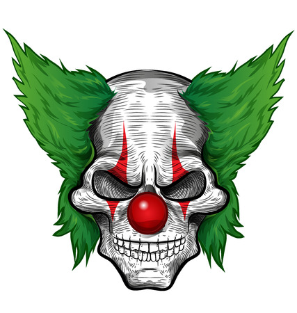 evil: clown skull isolated on white background