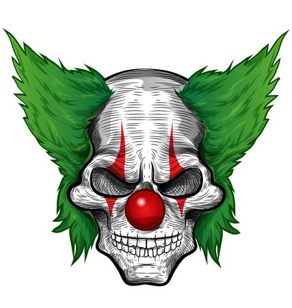 clown cirque: crâne de clown isolé sur fond blanc