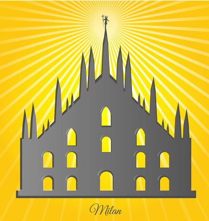 milan cathedral  design on background Vector