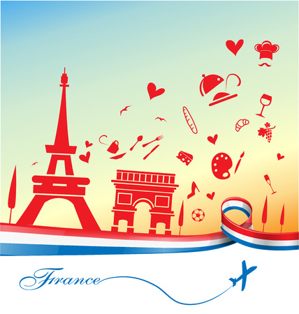 france holiday background with symbol and flag  イラスト・ベクター素材