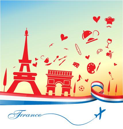 frankrijk vakantie achtergrond met symbool en vlag Stock Illustratie