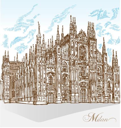 milan cathedral hand draw Illusztráció