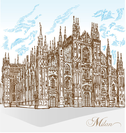 milan cathedral hand draw 矢量图像
