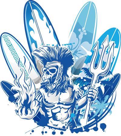 poseidon death surfer on surfboard background