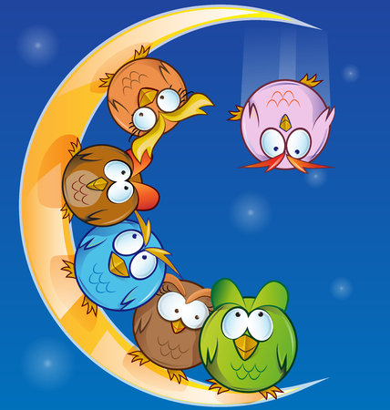 clips: owl group cartoon on moon Illustration