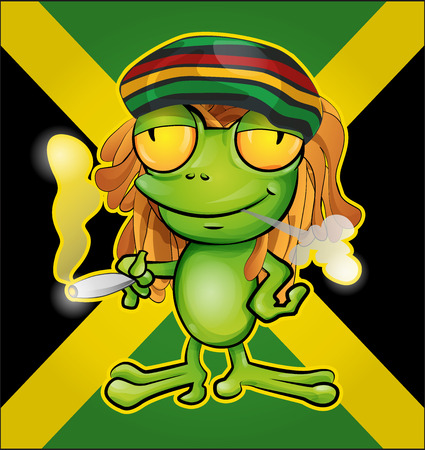 jamaican: Dibujos animados rana rastafari en la bandera jamaicana