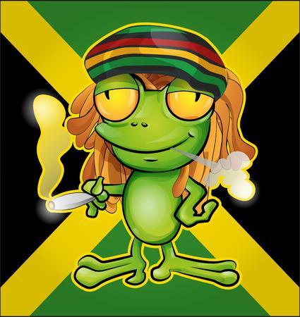dreadlock: Rastafarian frog cartoon on jamaican flag