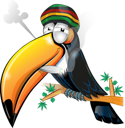 cigarette: jamaican toucan cartoon isolated on white