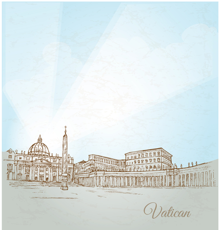 pietro: vatican city  background hand draw