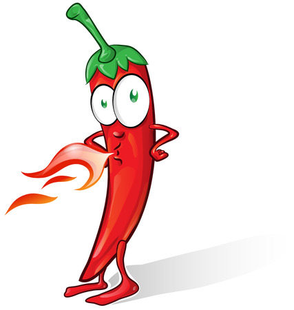 capsaicin: mexican chili cartoon isolated on white background