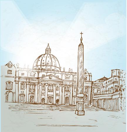 バチカン市国の背景手描します。  イラスト・ベクター素材