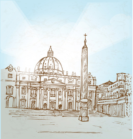 vatican city  background hand draw