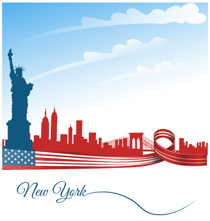 city background: new york city background on usa flag Illustration