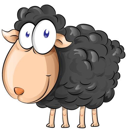 zwart schaap: zwarte schapen cartoon isoleren op een witte achtergrond Stock Illustratie